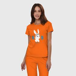 Пижама хлопковая женская Физкульт - привет! цвета оранжевый — фото 2