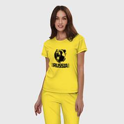 Пижама хлопковая женская Russia цвета желтый — фото 2