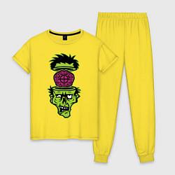 Пижама хлопковая женская Зомби на прицеле цвета желтый — фото 1