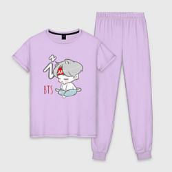 Пижама хлопковая женская BTS sleep цвета лаванда — фото 1