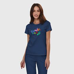 Пижама хлопковая женская Gone Fludd цвета тёмно-синий — фото 2