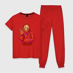Пижама хлопковая женская Арт пакман цвета красный — фото 1