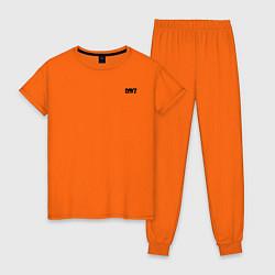 Пижама хлопковая женская DAYZ ДЕЙЗИ спина Z цвета оранжевый — фото 1
