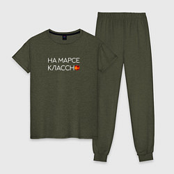 Пижама хлопковая женская Noize MC цвета меланж-хаки — фото 1