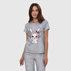 Пижама хлопковая женская Зайка с ножами цвета меланж — фото 2