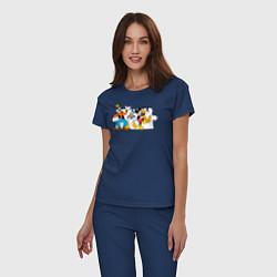 Пижама хлопковая женская Микки и друзья цвета тёмно-синий — фото 2