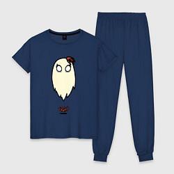 Пижама хлопковая женская Приведение Венди цвета тёмно-синий — фото 1