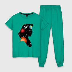 Пижама хлопковая женская Dana цвета зеленый — фото 1