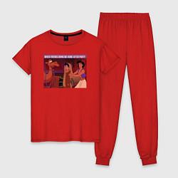 Пижама хлопковая женская After Party цвета красный — фото 1