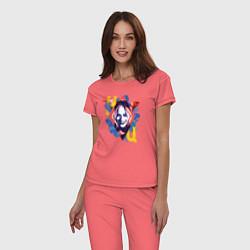 Пижама хлопковая женская Harley Quinn цвета коралловый — фото 2