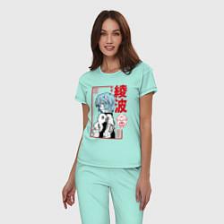 Пижама хлопковая женская Рей Аянами EVA-00 цвета мятный — фото 2