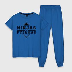 Пижама хлопковая женская Ninjas In Pyjamas цвета синий — фото 1