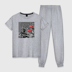Пижама хлопковая женская Париж цвета меланж — фото 1