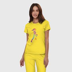 Пижама хлопковая женская Формула фитнес цвета желтый — фото 2