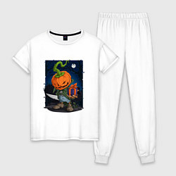 Пижама хлопковая женская Жуткий подарок цвета белый — фото 1