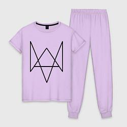 Пижама хлопковая женская Watch Dogs цвета лаванда — фото 1