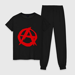 Пижама хлопковая женская Символ анархии цвета черный — фото 1
