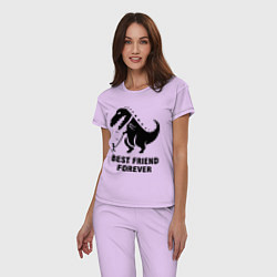 Пижама хлопковая женская Godzilla best friend цвета лаванда — фото 2