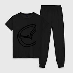 Пижама хлопковая женская Мазда значок цвета черный — фото 1
