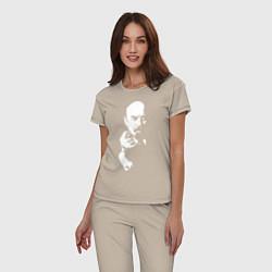 Пижама хлопковая женская Ленин: фигу вам цвета миндальный — фото 2