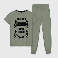 Пижама хлопковая женская Best friends цвета авокадо — фото 1