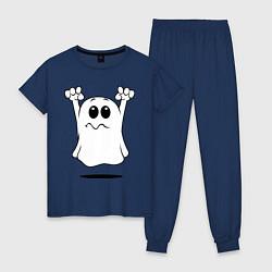 Пижама хлопковая женская Привидение цвета тёмно-синий — фото 1