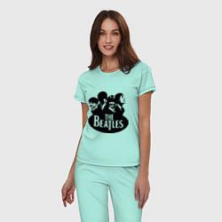 Пижама хлопковая женская The Beatles Band цвета мятный — фото 2