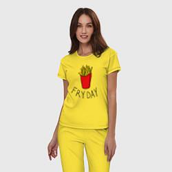 Пижама хлопковая женская Пятница цвета желтый — фото 2