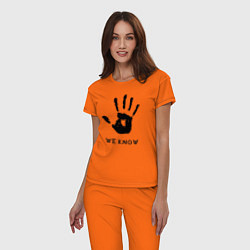 Пижама хлопковая женская We know цвета оранжевый — фото 2