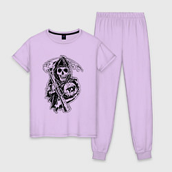 Пижама хлопковая женская Sons Of Anarchy: Death цвета лаванда — фото 1