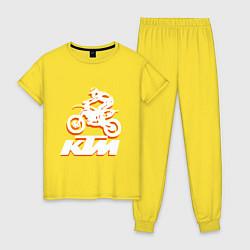 Пижама хлопковая женская KTM белый цвета желтый — фото 1