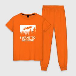 Пижама хлопковая женская BttF: I Want bo believe цвета оранжевый — фото 1
