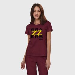 Пижама хлопковая женская Brazzers Bros цвета меланж-бордовый — фото 2