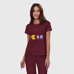 Пижама хлопковая женская Pac-Man: Fast Eat цвета меланж-бордовый — фото 2
