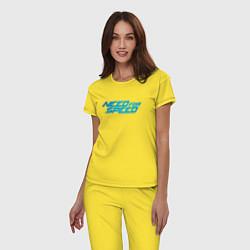 Пижама хлопковая женская Need for speed цвета желтый — фото 2