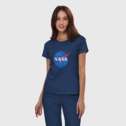 Пижама хлопковая женская NASA: Logo цвета тёмно-синий — фото 2