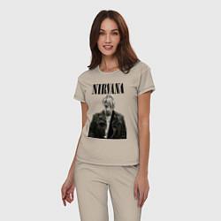 Пижама хлопковая женская Kurt Cobain: Young цвета миндальный — фото 2