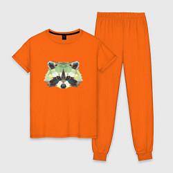 Пижама хлопковая женская Мордочка енота цвета оранжевый — фото 1