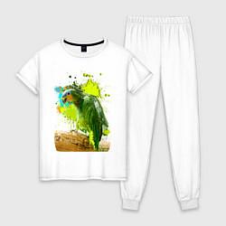 Пижама хлопковая женская Зеленый попугай цвета белый — фото 1