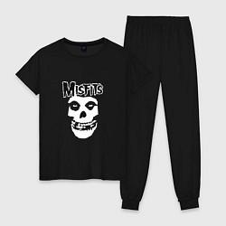 Пижама хлопковая женская Отбросы цвета черный — фото 1