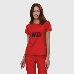 Пижама хлопковая женская 1703 цвета красный — фото 2