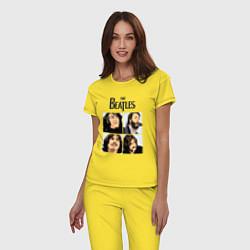 Пижама хлопковая женская The Beatles Stories цвета желтый — фото 2