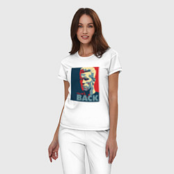 Пижама хлопковая женская I'll be back цвета белый — фото 2