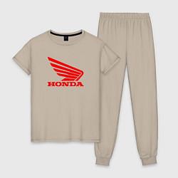 Пижама хлопковая женская Honda Red цвета миндальный — фото 1