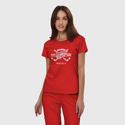 Пижама хлопковая женская Detroit Red Wings: Est.1926 цвета красный — фото 2