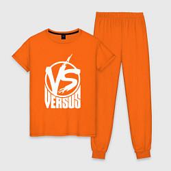 Пижама хлопковая женская Versus Battle цвета оранжевый — фото 1