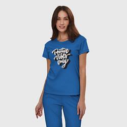 Пижама хлопковая женская Positive vibes only цвета синий — фото 2