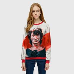 Свитшот женский Молодой Цой цвета 3D-красный — фото 2