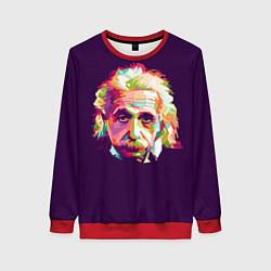 Свитшот женский Альберт Эйнштейн: Арт цвета 3D-красный — фото 1