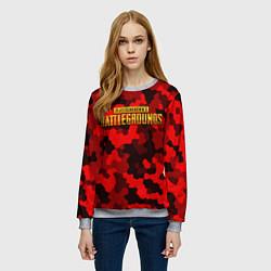 Свитшот женский PUBG: Red Mozaic цвета 3D-меланж — фото 2